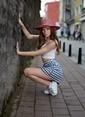 Laslusa İçten Ayarlanabilir Hasır Istiridye Kabuklu Geniş Kenar Şapka Kırmızı